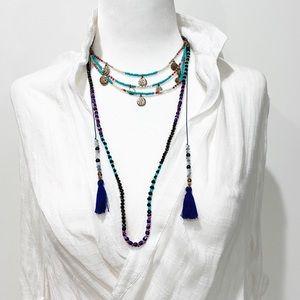 Semiprecious Stones Boho Choker Multi  Necklace
